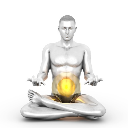 manipura: A woman performing a Manipura chakra meditation. 3D rendered illustration.