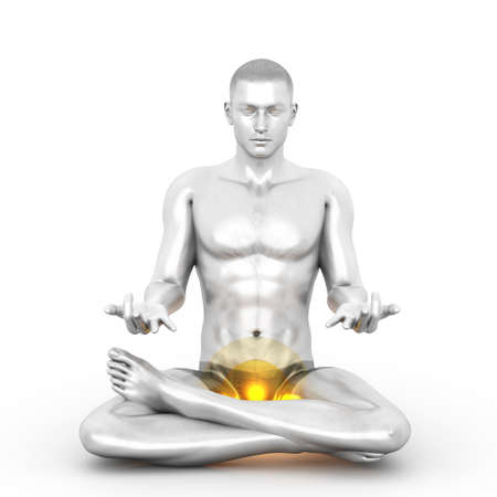 A woman performing a Muladhara chakra meditation. 3D rendered illustration.  Stock Photo