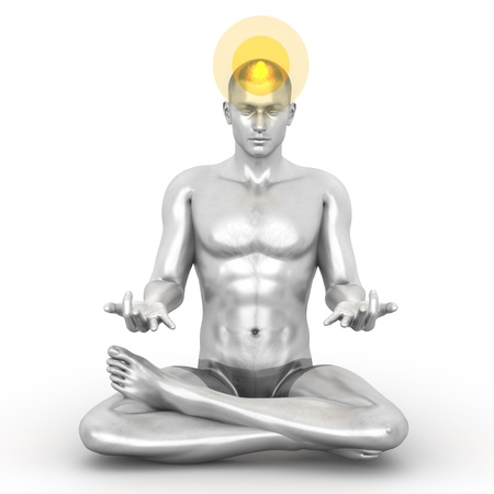 A woman performing a Sahasrara chakra meditation. 3D rendered illustration.