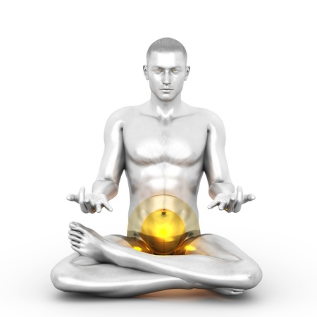 tantra: A woman performing a Swadhistana chakra meditation. 3D rendered illustration.