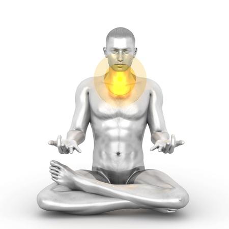 A woman performing a Visudda chakra meditation. 3D rendered illustration.