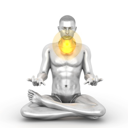 A woman performing a Visudda chakra meditation. 3D rendered illustration.  illustration