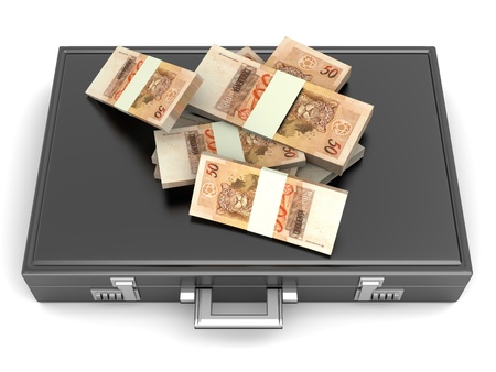 A Briefcase and Reales in Cash. 3D rendered Illustration. illustration