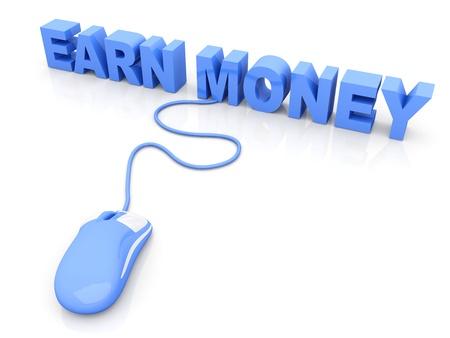 earn money online: Earn Money online. 3D rendered Illustration. Isolated on white.