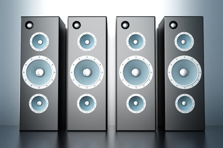 A set of Loudspeakers. 3D rendered Illustration. illustration