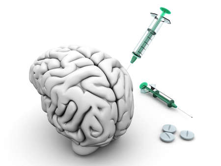 methamphetamine: Brain medication. Pills and syringes and a human brain.