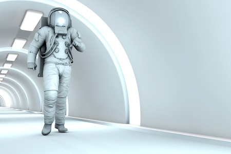 A Astronaut walking in a space station. 3D rendered illustration. illustration