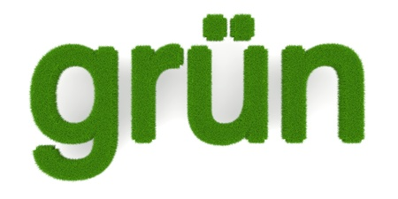 embed: The word gruen (Green in german). Symbol for ecology. 3d illustration. Stock Photo