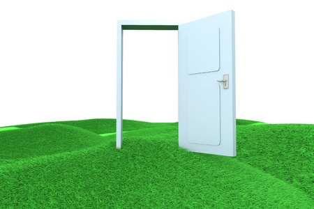 A door on green Hills. 3D rendered Illustration.   illustration