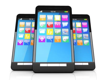 Three smartphones in a line. 3D illustration. Stock Illustration - 21159260