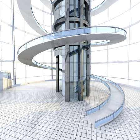 Science fiction architecture visualisation. 3D rendered illustration. Stock Photo