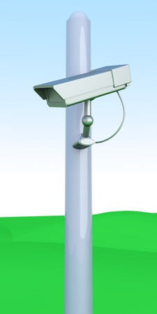 A CCTV surveillance cam on green hills. 3D rendered Illustration.   illustration