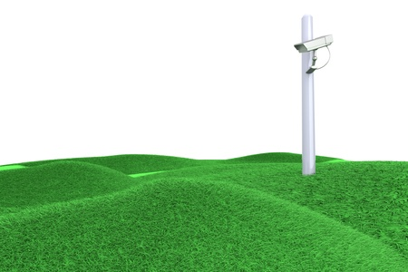 A CCTV surveillance cam on green hills. 3D rendered Illustration.   illustration