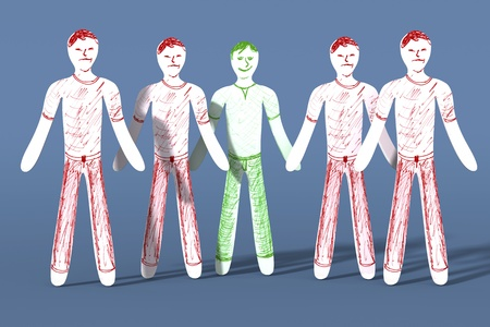 joined hands: One is happy while the rest is sad. 3D rendered illustration.