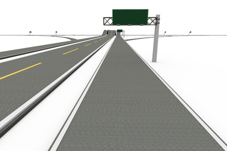 A Highway interchange. 3D rendered Illustration. Isolated on white. Stock Photo