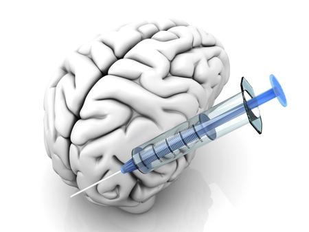 methamphetamine: Syringes injecting substances into a human brain.