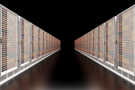 bytes: Server racks in a row. 3d illustration.