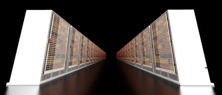 Server racks in a row. 3d illustration. illustration