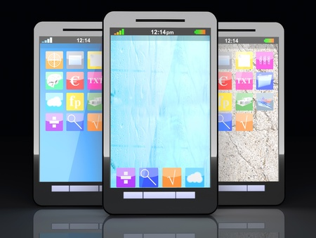 Three smartphones in a line  3D illustration Stock Illustration - 21723084