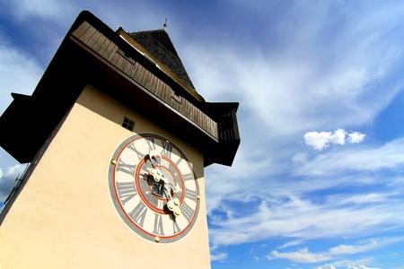 The famous Uhrturm  clock tower  in Graz  Grace , Austria, Styria, Europe  Stock Photo