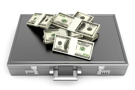 A Briefacse and Dollars in Cash  3D rendered Illustration  illustration