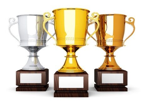 awarding: Three trophies with a blank plate for custom text  3D rendered Illustration  Stock Photo
