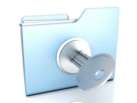 trust: A locked Folder. 3D illustration. Stock Photo
