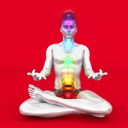 A woman performing a full chakra meditation. 3D rendered illustration. Stock Illustration - 21907441