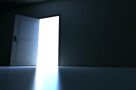 open gate: A open door in a empty room. 3D rendered illustration. Stock Photo
