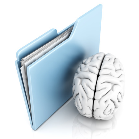 Brain and a Folder. 3D illustration. illustration