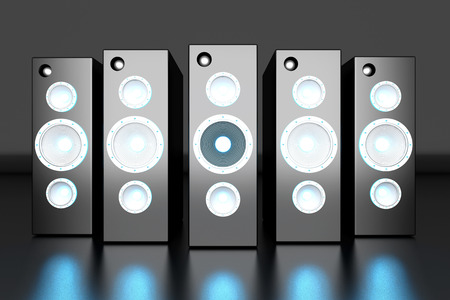 surround system: A set of powerful Loudspeakers. 3D rendered Illustration.