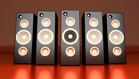hifi: A set of powerful Loudspeakers. 3D rendered Illustration.