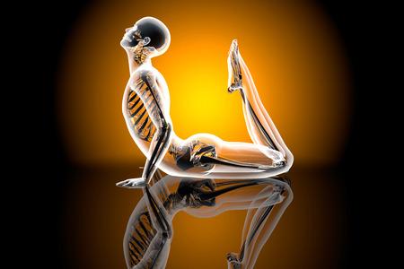 lookalike: A lookalike of the King Cobra Yoga pose. 3D illustration.
