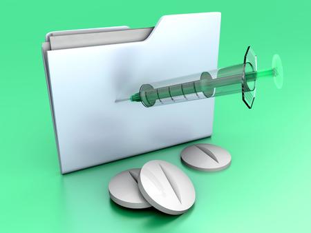 A medical folder with Pills and a Syringe. 3D illustration. illustration
