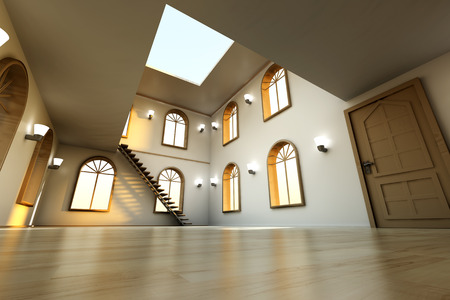 spacey: Architecture visualization of a Loft interior. 3D rendered Illustration.