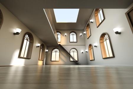 maisonette: Architecture visualization of a Loft interior. 3D rendered Illustration.