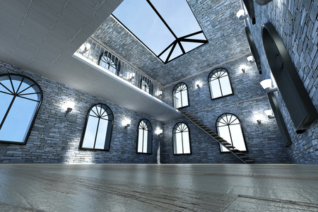 Architecture visualization of a Loft interior. 3D rendered Illustration. illustration