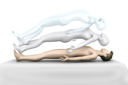paralysis: 3d rendered Illustration. Astral Projection.
