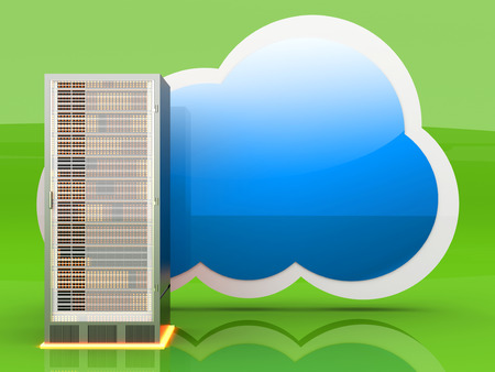 managed: Server cloud computing. 3D rendered illustration. Stock Photo
