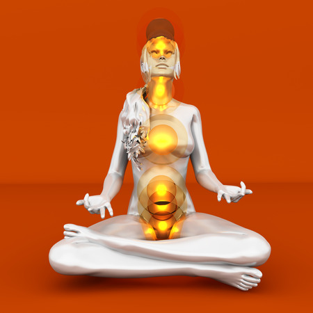 A woman performing a full chakra meditation. 3D rendered illustration.  Stock Illustration - 22960450