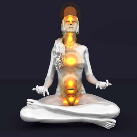 3d om: A woman performing a full chakra meditation. 3D rendered illustration.