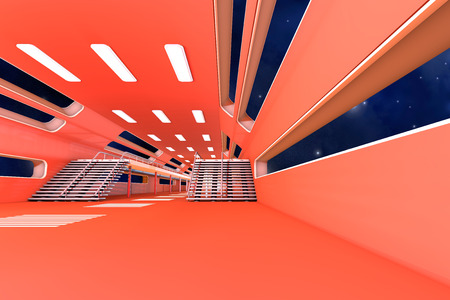 roof light: Space station Interior. 3D Architecture visualization. Stock Photo