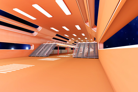 Space station Interior. 3D Architecture visualization. photo