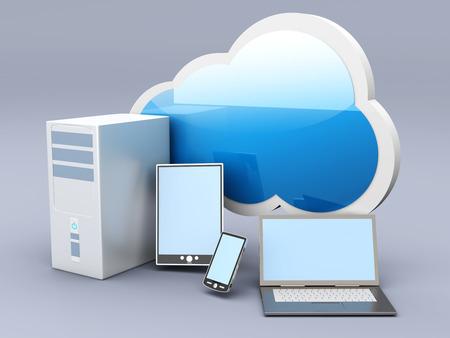 cel: Cloud computing. 3D rendered illustration.