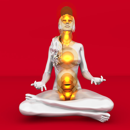 A woman performing a full chakra meditation. 3D rendered illustration.  Stock Illustration - 23411471