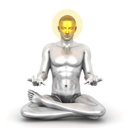 tantra: A woman performing a Ajna chakra meditation. 3D rendered illustration.