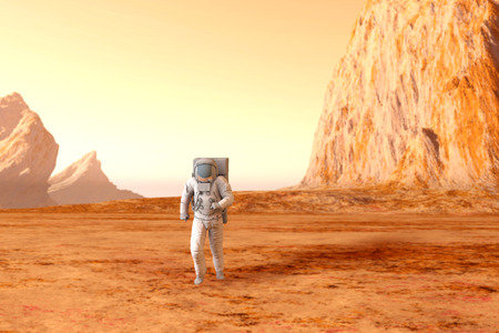 A Astronaut walking on the surface of Mars. 3D illustration. illustration