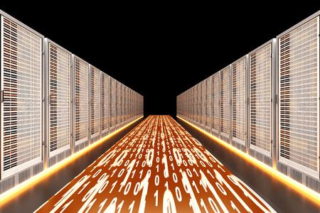 visualisation: Data rush on the Server highway. 3d rendered Illustration.