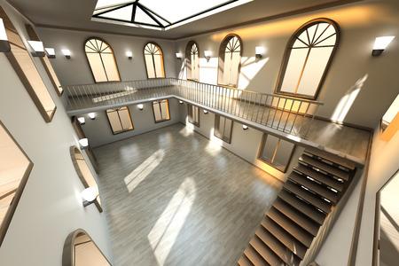 Architecture visualization of a Loft interior. 3D rendered Illustration.