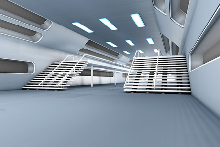 space station: Space station Interior. 3D Architecture visualization. Stock Photo